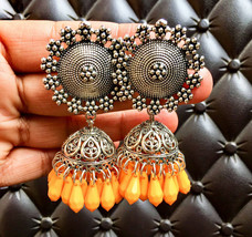 Yellow Beaded Indian Fashion Traditional Classy Silver  Flower Stud Ethn... - €12,51 EUR