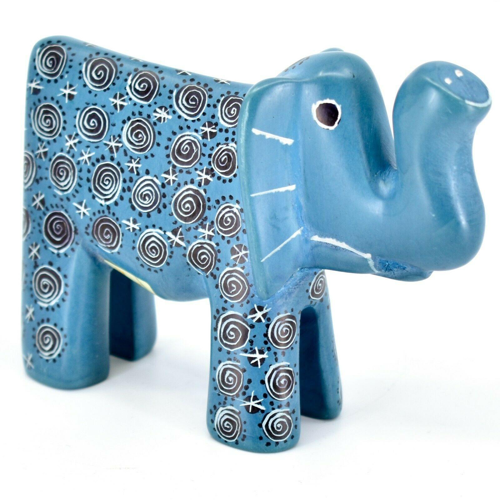 Hand Carved Gusii Soapstone Blue Elephant w Swirl Design Figurine Made in Kenya