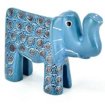 Hand Carved Gusii Soapstone Blue Elephant w Swirl Design Figurine Made in Kenya image 1