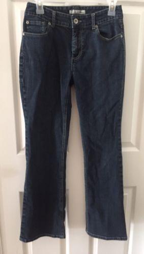 """CHICO'S Platinum Denim Jeans Size 0 Short Inseam 29""""  Dark Wash Boot Cut"""