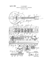 Bridge for Stringed Musical Instruments Patent Print - White - $7.95+