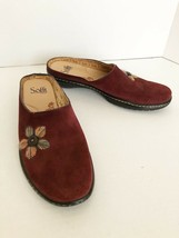 NEW Sofft Suede Mules Clogs Burgundy Flower Embroidery Slip On Comfort Sz 8N - $30.55