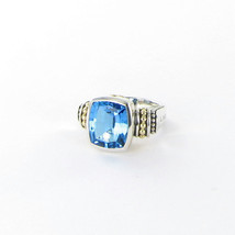 Lagos Signature Caviar Blue Topaz Ring 15mm Medium 18K Sterling Sz 7 New... - $1,037.89