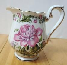 Vintage Royal Albert Creamer Cotswold Bone China England Pink Floral Gol... - $24.18