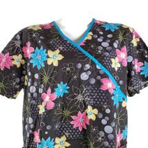 SB Scrubs Black Pink Yellow Blue Flowers XL Scrub Top - $15.34