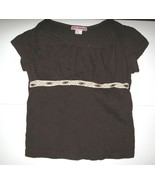 Girls Brown Shirt with Beaded Lace Trim Across Chest, Size L Cotton Blend - $2.80