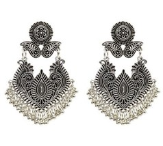 Indian Jewelry Vintage Silver Gold Carved Flower Drop Earrings for Women Bohemia - $9.48