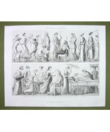 CLASSIC GREECE Life Wedding Funeral Gymnastics Women - 1870s Engraving P... - $12.15