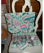 Vera Bradley Carson North South Tote, Riley wallet, fringe scarf in Mint... - $89.99