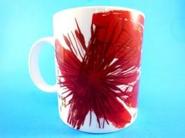 Starbucks  Coffee Mug  Christmas Abstract Flowers Red 12 oz  2014 - $8.90