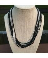 Black and White Seed Beads Chocker - $14.75