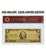 24K .999 Gold 1928 $2 Dollar Gold Cert Banknote with COA (Cert of Authen... - $4.99