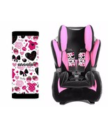 PERSONALIZED BABY TODDLER CAR SEAT STRAP COVERS CUTE GIRL BOWS HEARTS - $14.68