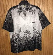 Royal Creations Black Gray White Hawaiian Shirt Aloha Shirt Men's Large - $23.38