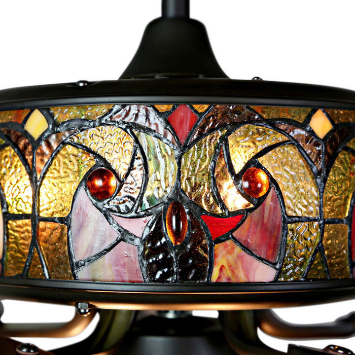 River of Goods Tiffany Style Stained Glass Halston 52 in. Ceiling Fan - Spice