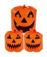 Halloween Decoration Jack-o-lantern Lawn Bags Pack 3 Pumpkin Yard Decor ... - £12.21 GBP