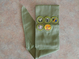 Boy Scout Merit Badges on Sash Vintage 60's or 70's not sure - $24.95