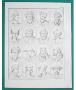 PEOPLE of Russia Turkey China Japan Mongols Kirgiz Persia - 1828 Antique... - $21.60