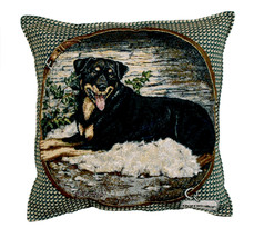 """ROTTWEILER Throw Pillow Tapestry New 17x17"""" Dogs Made in USA Rottie - $44.54"""