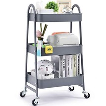 TOOLF 3-Tier Utility Rolling Cart, Serving Cart with Large Storage and Metal Whe