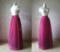 BURGUNDY Maxi Tulle Skirt Women Tulle Puffy Skirt Burgundy Wine Red Wedding Tutu image 3