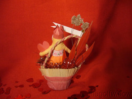 Vintage Inspired Spun Cotton Candy Cup Valentine Piece image 2