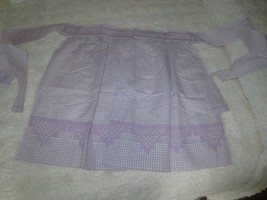 Vtg. Handmade LAVENDER GINGHAM CHECK CROSS STITCHED Cotton HALF APRON - ... - $14.00