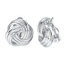 Yoursfs Statement Clip on Earrrings for Women18K White Gold Plated Love ... - $17.23