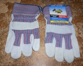 unbranded smooth grain oxhide safety cuff canvas work gloves new - $9.89
