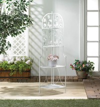 "Butterfy White 4 Tier Corner Rack 58"" Tall Plant Stand - $74.95"