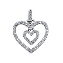 14k White Gold Cubic Zirconia Dangling Double Heart Pendant - $83.00