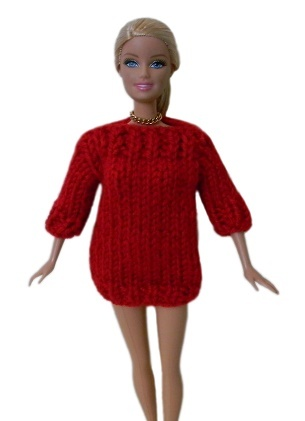 Barbie Doll Clothes Knit Red Boatneck Sweater Handmade