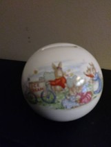 Bunnykins Royal Doulton Money Ball Bank ~ Summer Time Ice Cream Bunny Scene - $18.81