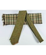 Vintage Pringle Made in Scotland Tie Green 100% Wool & Matching unbrande... - $17.61