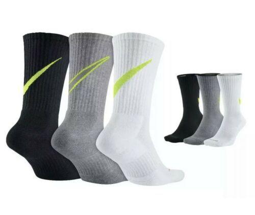 Nike Unisex 3 Pack Cushioned Crew Socks Gray Black White Size Medium SX4950-946