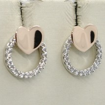18K WHITE & ROSE GOLD HEART AND CIRCLE EARRINGS, WHITE ZIRCONIA, MADE IN ITALY image 1