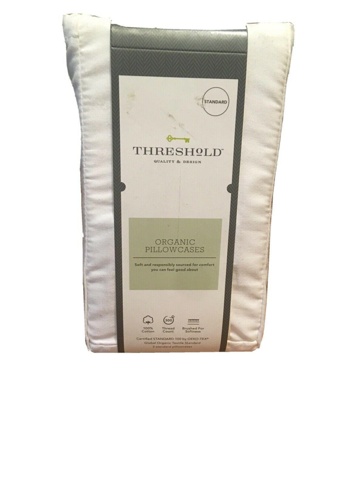Standard 300 Thread Count ORGANIC Pillowcase Set standard White Threshold NEW! -
