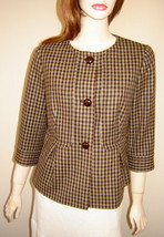 TALBOTS Olive/Brown Autumn Check Plaid Pleated Wool Swing Jacket (8P) NEW - $29.30