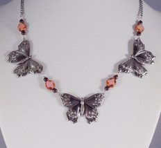 Triple Silver Art Nouveau Butterfly Statement Necklace with Pink Table C... - $9.99