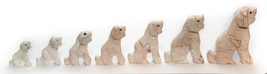 Set of 7 From The Smallest To The Largest Dog Puppy Figurine Marble Vintage - $19.80