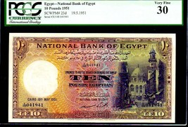 """EGYPT P23d 1951 """"MOSQUE OF SULTAN"""" 10 EGYPTIAN POUND in PCGS 30! PYRAMID - $695.00"""