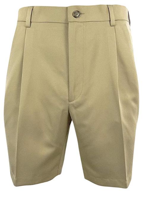 Roundtree & Yorke Size 44 Waist EXPANDER WAISTBAND Khaki Pleated New Mens Shorts