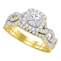 14kt Yellow Gold Princess Diamond Twist Bridal Wedding Engagement Ring Set - $1,513.19