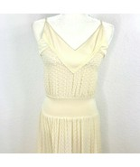 Diane Von Furstenberg Women Size 6 Long V neck Lined Beige Maxi Dress - $96.36