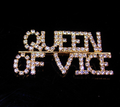 Queen of Vice - Rhinestone pin -  Vintage letter initial pin Gift - gold... - $85.00
