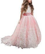 WDE Princess Coral Pink Long Girls Pageant Dresses Kids Prom Puffy Tulle... - $60.08