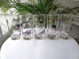 Set of 5 Libbey 1950's Horseless Carriage Highball Glasses Black/Gold - $37.61