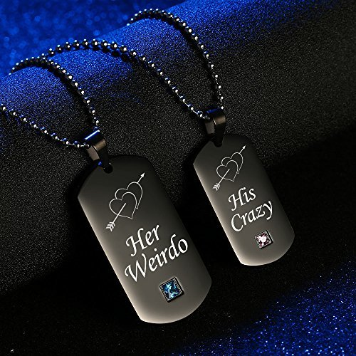 GAGAFEEL Couples Necklace CZ Pendant His Crazy Her Weirdo Dog Tag Necklaces Anni