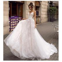Princess Fairy Beach Wedding Dress A Line Backless Sexy Spaghetti Straps  3D Lac image 3
