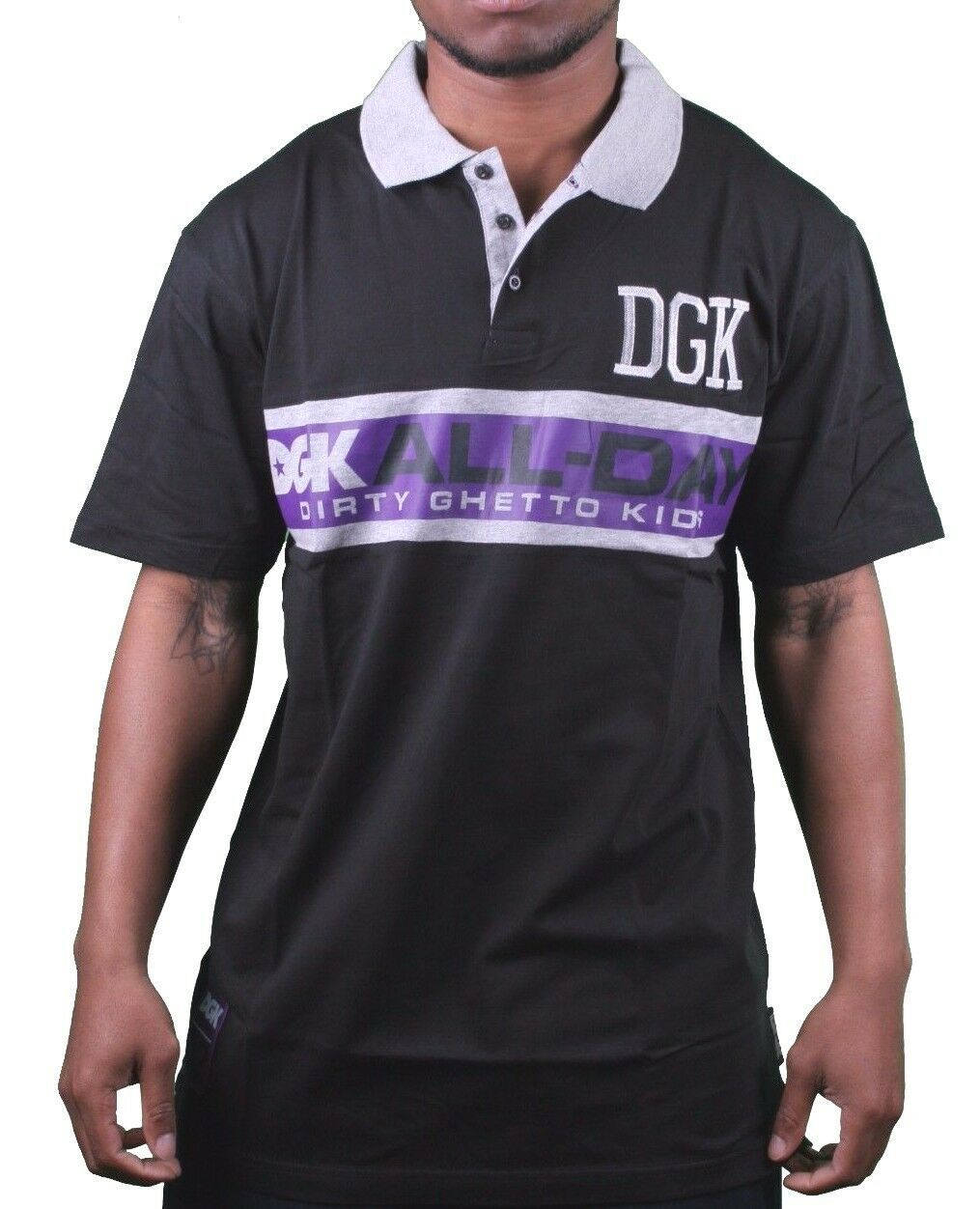 DGK Skateboarding All Day Black Grey Purple Sport Polo Shirt Dirty Ghetto Kids